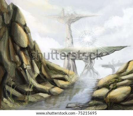 mountain landscape of fantasy world, digital painting - stock photo