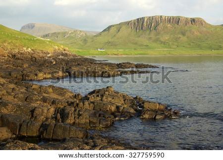 Mountain landscape on the isle of Skye in Scotland - stock photo