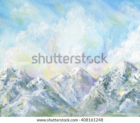 Mountain landscape. Original acrylic hand painting illustration - stock photo