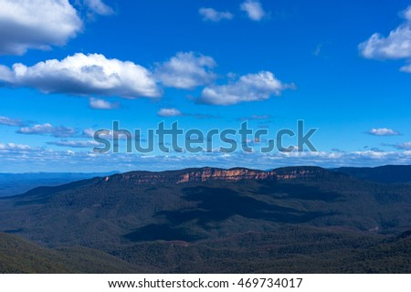 Mountain landscape panorama view from above. Wentworth falls, Blue Mountains National Park, New South Wales, Australia
