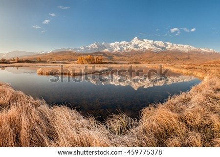 Mountain landscape Panoramic view Alpine picture White peaks Mirror reflection Clear lake Autumn