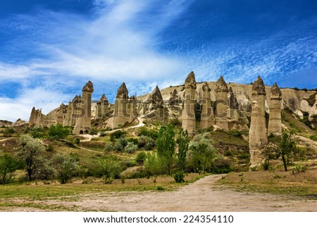 Mountain landscape panoramic view. Cappadocia, Turkey. Goreme national park. - stock photo