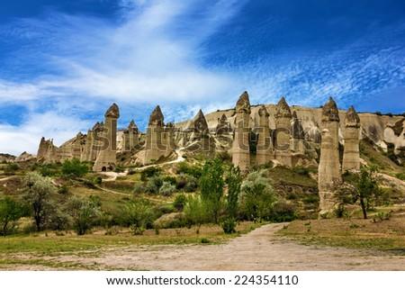 Mountain landscape panoramic view. Cappadocia, Turkey. Goreme national park. - stock photo