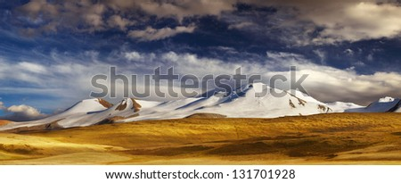 Mountain landscape, Plateau Ukok, the junction of Russian, Chinese and Mongolian borders - stock photo