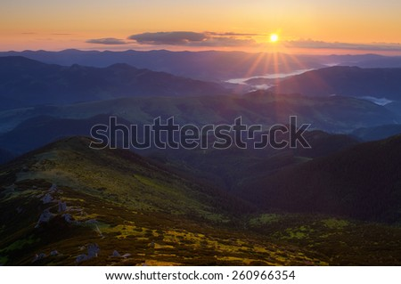 Mountain landscape. Sunrise on a summer morning. Beauty in nature. Carpathians, Ukraine, Europe - stock photo