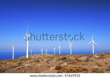 Mountain landscape. Windmills. Crete. Greece. - stock photo