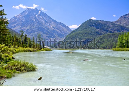 Mountain landscape with a calm river