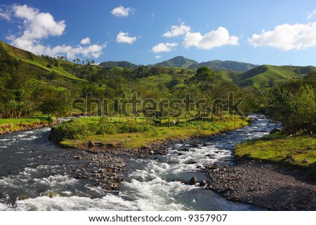 Mountain landscape with a river in Monteverde (Costa Rica) - stock photo