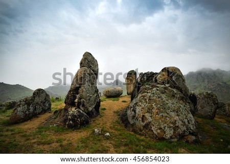 mountain landscape with cloudy sky in Dobrogea, Romania