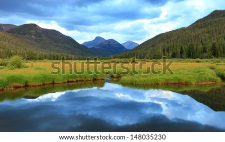 Mountain landscape with dramatic sky, Utah, USA. - stock photo