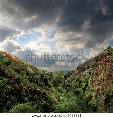 Mountain landscape with eagles - stock photo