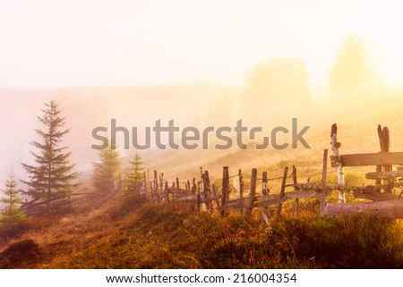 Mountain landscape with fog in Transylvania mountains - stock photo
