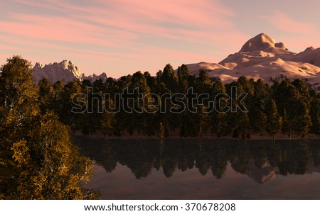 Mountain landscape with forest and lake in front and mountains with snow in the background. - stock photo