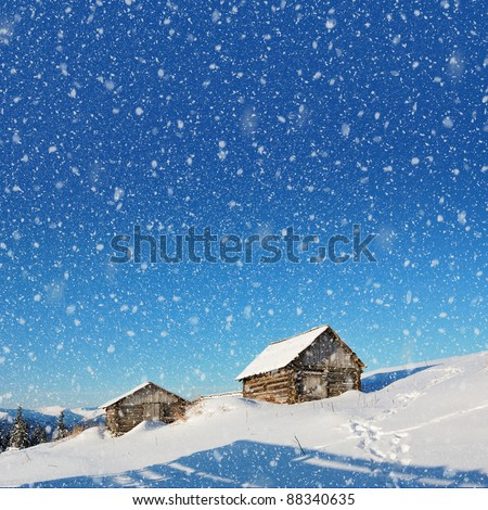 Mountain landscape with houses in the Carpathian shepherds - stock photo