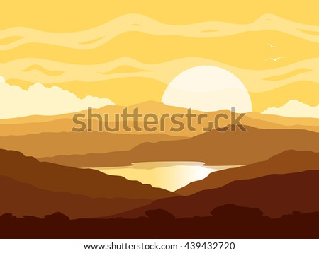 Mountain landscape with huge lake at yellow sunset. Wild nature at sunset.  Raster version of the illustration.  - stock photo