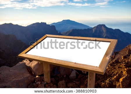 Mountain landscape with Information board and empty space on Caldera de Taburiente national park on La Palma island in Spain