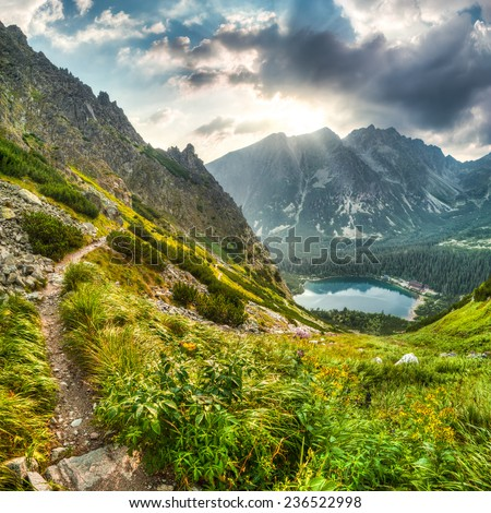mountain landscape with mountain chalet near Poprad Pond, High Tatras, Slovakia - stock photo