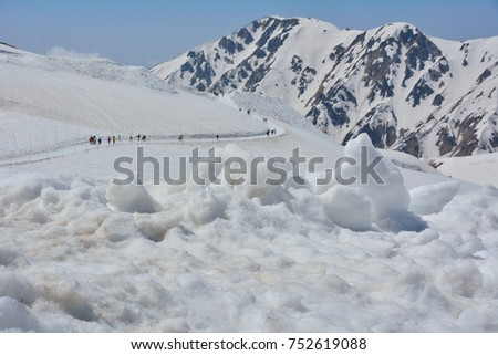 Mountain landscape with snow and clear blue sky. (Location: Alpine Route-Japan Alps, Tateyama, Japan)