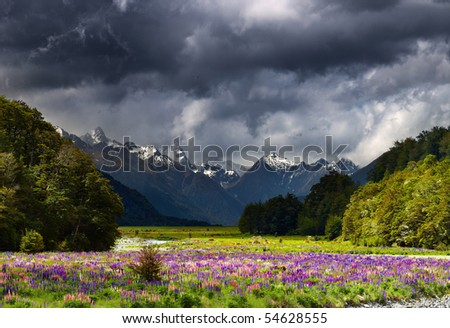 Mountain landscape with storm clouds, New Zealand