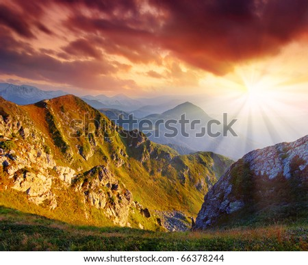 Mountain landscape with the beautiful sky and clouds at a dawn. Mountains Carpathians, Ukraine - stock photo