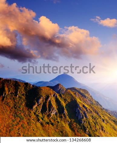 Mountain landscape with the morning light