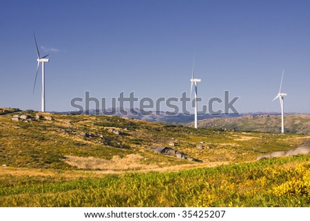 Mountain landscape with wind mills