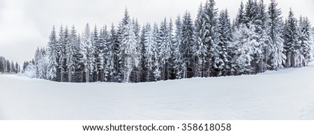 mountain landscapes and panoramas of snow-capped mountain peaks in the winter ski resorts