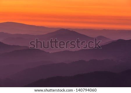 Mountain layers, Encartaciones, Bizkaia, Spain - stock photo