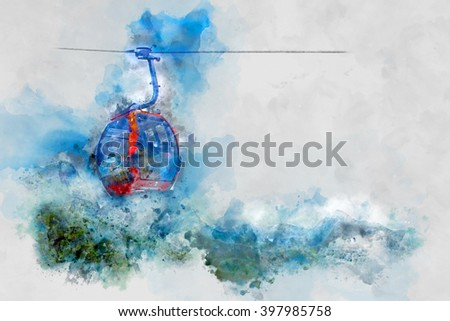 Mountain Lift With Blue Sky - stock photo