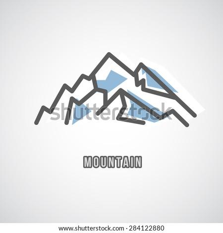 Mountain Logo - Geometric Sign - Logo Sign Template. Mountain water logo. Design element. - stock photo