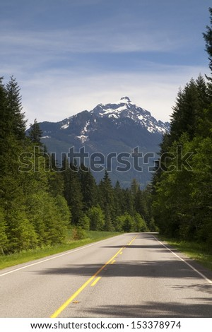 Mountain Loop Highway winds and meanders through the landscape in Washington State - stock photo