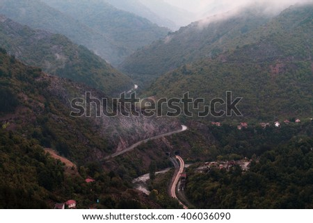 mountain mists - stock photo