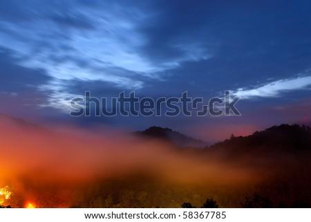 Mountain misty sunrise.  Great Smoky Mountain National Park, Tennessee, USA - stock photo
