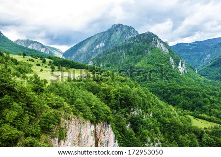 Mountain natural landscape, Montenegro, green hills.