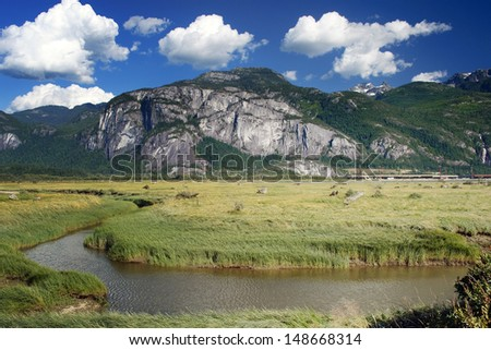 Mountain near Squamish known as Stawamus Chief, famous for rock climbing - stock photo