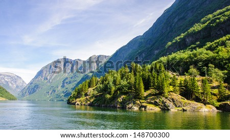 Mountain of the Sognefjord, Norway - stock photo