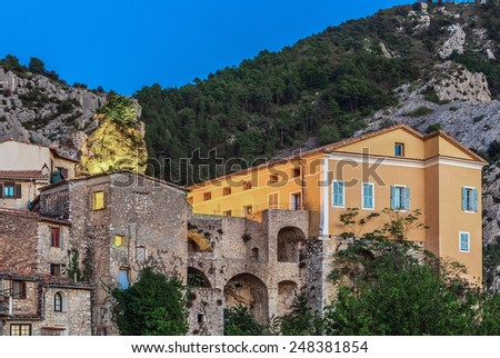 Mountain old village Peille, Provence Alpes, France. - stock photo