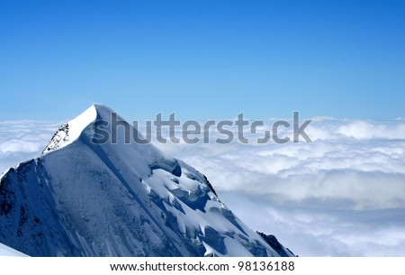 Mountain on Mont Blanc climbing route, French Alps, France. - stock photo