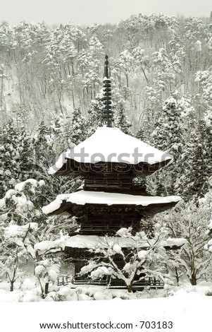 Mountain pagoda in winter, Japan - stock photo