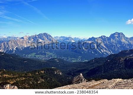 mountain panorama from Nuvolau: from left to right: Rondoi-Baranci group, Cristallo group, Dolomiti di Sesto, Cadini group, Sorapis group   - stock photo