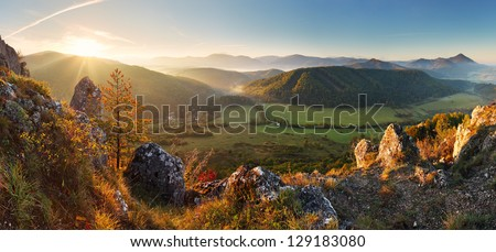 Mountain panorama in Slovakia - spring - stock photo