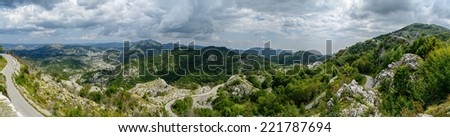Mountain panorama landscape and road in summer. Montenegro, Europe. - stock photo