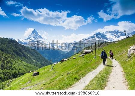 mountain panorama, switzerland. Matterhorn  - stock photo