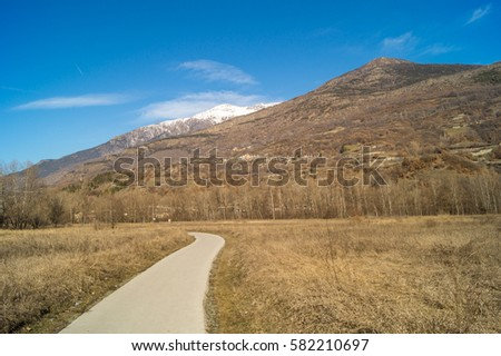 mountain panorama, walk in the forest with trees