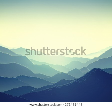 Mountain panoramic landscape. - stock photo