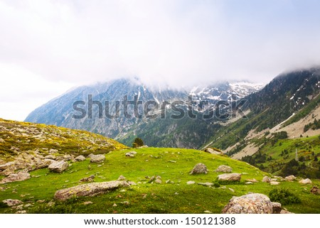 mountain pass at Pyrenees in cloudy day. Port de la Bonaigua, Catalonia - stock photo