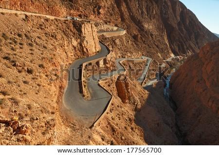 Mountain pass in Dades Gorges,  Atlas Mountains, Morocco - stock photo