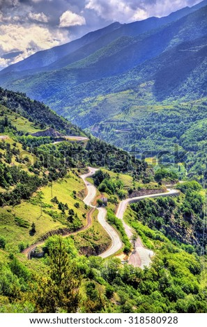 Mountain pass in Pyrenees-Orientales department, France