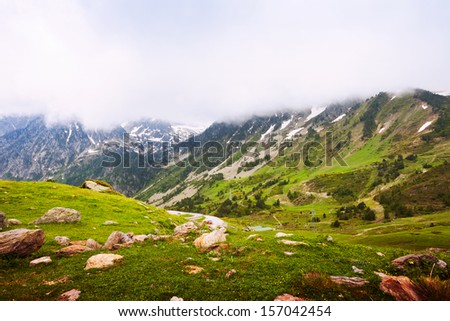 mountain pass in Pyrenees. Port de la Bonaigua, Catalonia - stock photo