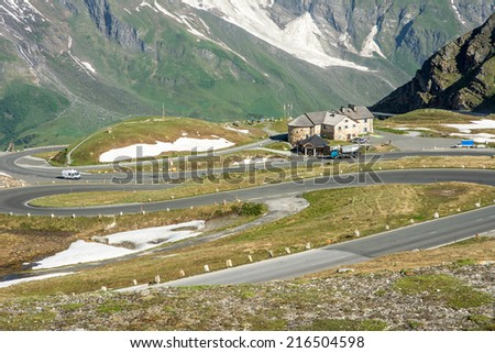 Mountain pass of the Grossglockner High Alpine Road in Austria. - stock photo